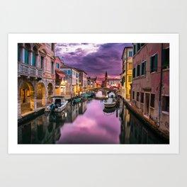 Venice Italy Canal at Sunset Photograph Art Print