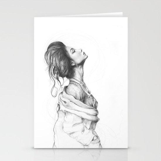 Pretty Lady Pencil Portrait Fashion Art Stationery Cards