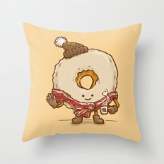 Bacon Scarf Maple Donut Throw Pillow