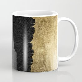 Faux Gold and Black Starry Night Brushstrokes Coffee Mug
