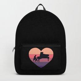 Retro Sunset Grand Piano Heart Backpack