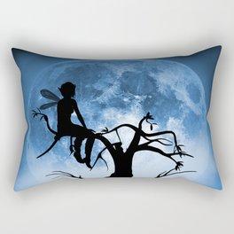 Moonlight Wondering Fairy - Blue Rectangular Pillow