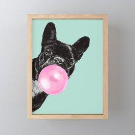 Bubble Gum Sneaky French Bulldog in Green Framed Mini Art Print