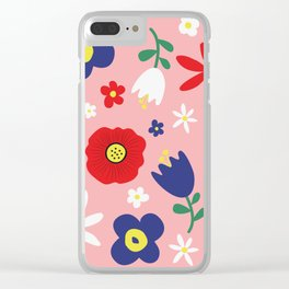 Spring Flowers Floral Pattern on Pink Clear iPhone Case