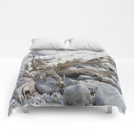 Driftwood and Beach Rocks Comforters