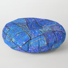 V2 Calm Blue Traditional Moroccan Cloth Texture. Floor Pillow