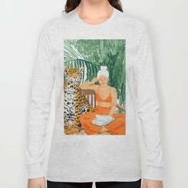 Jungle Vacay #painting #illustration Long Sleeve T-shirt