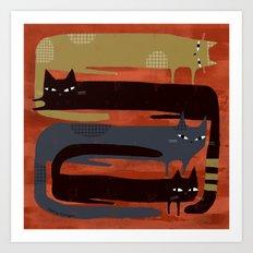 CAT QUAD Art Print