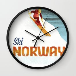 Ski Norway Vintage Travel Poster Wall Clock