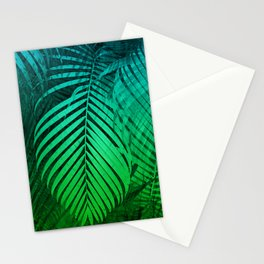 TROPICAL GREEN BLUE LEAVES Stationery Cards