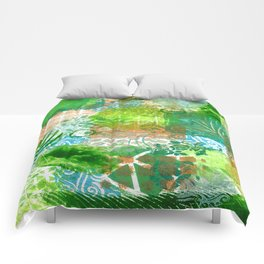 Patchwork in green and bronze  Comforters