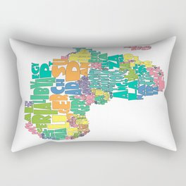 African Continent Cloud Map In Pastels Rectangular Pillow