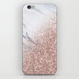 Blush Pink Sparkles on White and Gray Marble V iPhone Skin