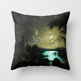 Classical Masteripiece 'A Castle and Lake by Moonlight' by Abraham Pether Throw Pillow