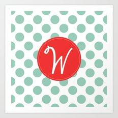 Monogram Initial W Polka Dot Art Print