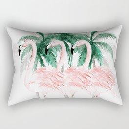 Three Flamingos Rectangular Pillow