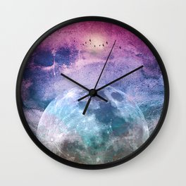 MOON under MAGIC SKY I Wall Clock