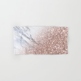 Blush Pink Sparkles on White and Gray Marble V Hand & Bath Towel