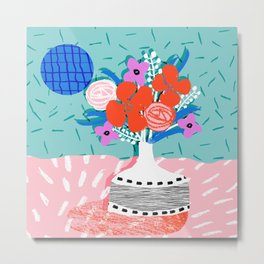 Oh Ay - memphis throwback still life retro florals modern minimal collage patterns Metal Print