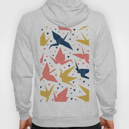 Japanese Origami paper cranes, symbol of happiness, luck and longevity, blue coral mustard Hoody