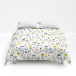 Cute spring flowers pattern pastel colors Comforters