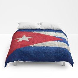 Cuban national flag- vintage retro version Comforters