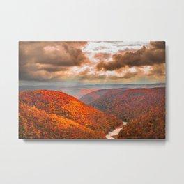 West Virginia Coopers Rock Fall Landscape Print Metal Print