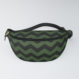 Large Dark Forest Green and Black Chevron Stripe Pattern Fanny Pack