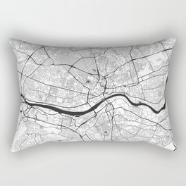 Newcastle upon Tyne Map Gray Rectangular Pillow
