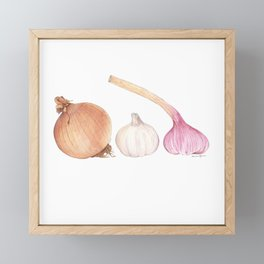 Onion and Garlics Framed Mini Art Print
