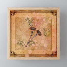 Music, pipe with clef and key notes Framed Mini Art Print