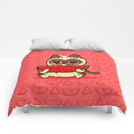 Watermelon cat food animals Comforters