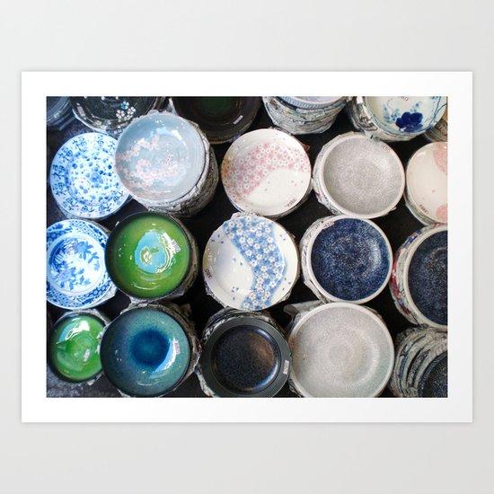 Dishes At Tsukiji Market Art Print
