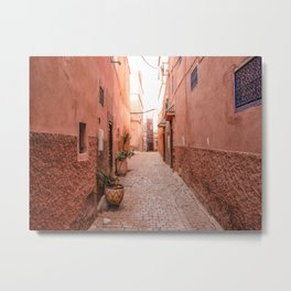 Streets of the Marrakech Medina and Souks, Morocco Metal Print
