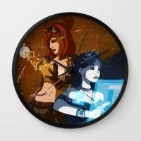 steam punk Wall Clocks featuring Steam/Cyber Punk by Waffle Guru