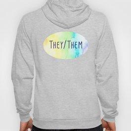 They Them Pronouns (Watercolor Rainbow) Hoody
