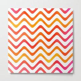High Noon Stripe Waves Metal Print
