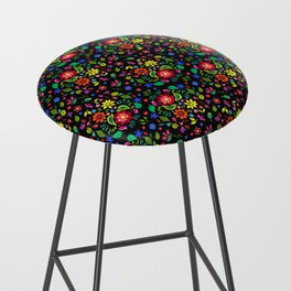 Folk Florals Dark Bar Stool