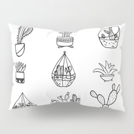 Minimalist Cacti Collection Black and White Pillow Sham