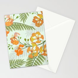 Peacock flower seamless pattern Stationery Cards
