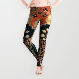Kashan Poshti  Antique Central Persian Rug Print Leggings