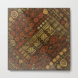 Ethnic African Pattern- browns and golds #5 Metal Print