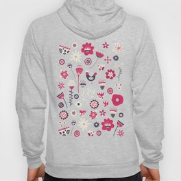 Scandi Birds and Flowers Blue Hoody