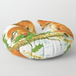 Cute Vintage Christmas Foxes Floor Pillow
