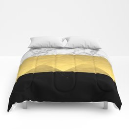 Stacked - gold foil black and marble cell phone case golden urban minimal retro modern city hipster  Comforters