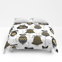 Black and Gold Modern Christmas Ornament Print Comforters