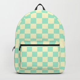 Cream Yellow and Magic Mint Green Checkerboard Backpack