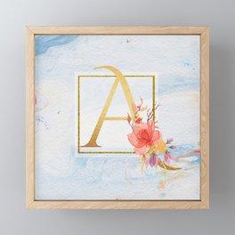 Letter A Gold Initial Floral Monogram Blue Marble Framed Mini Art Print