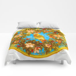 Colourful Yellow Parakeet In Flowery Wreath Comforters