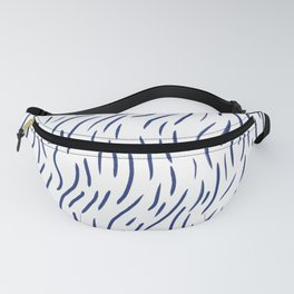 blue abstract organic wave line inspired by ocean, art wall decor, modern art pattern Fanny Pack